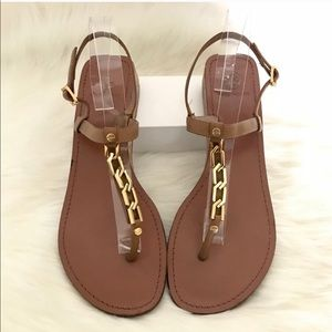 Tori Burch T-strap Sandals Small Wedge